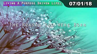 "07.01.18 - ""Living A Purpose Driven Life: The Reason You Were Born!"" - Pastor Linda A. Wurzbacher"